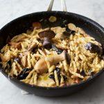 Vegetarian recipe - garlic and mushroom pasta recipe cooked in a pan