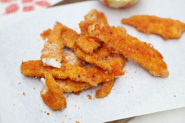 baked sole goujons on a plate