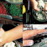 hands making a dough dish with herb seasoning, chilli and lemon
