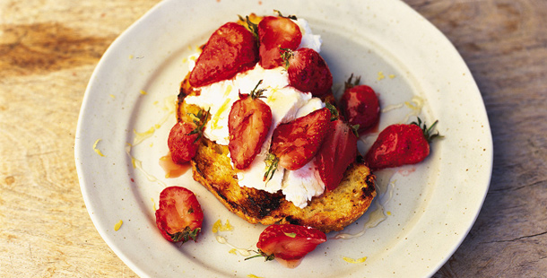 strawberries and cream on toast with honey