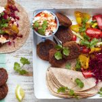 Bank Holiday - falafel and hummus wraps with grilled veg and feta