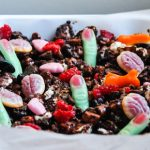 Halloween recipes with jelly brains, bones and fingers in a chocolate rocky road