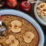 oatmeal apple pie for breakfast with milk