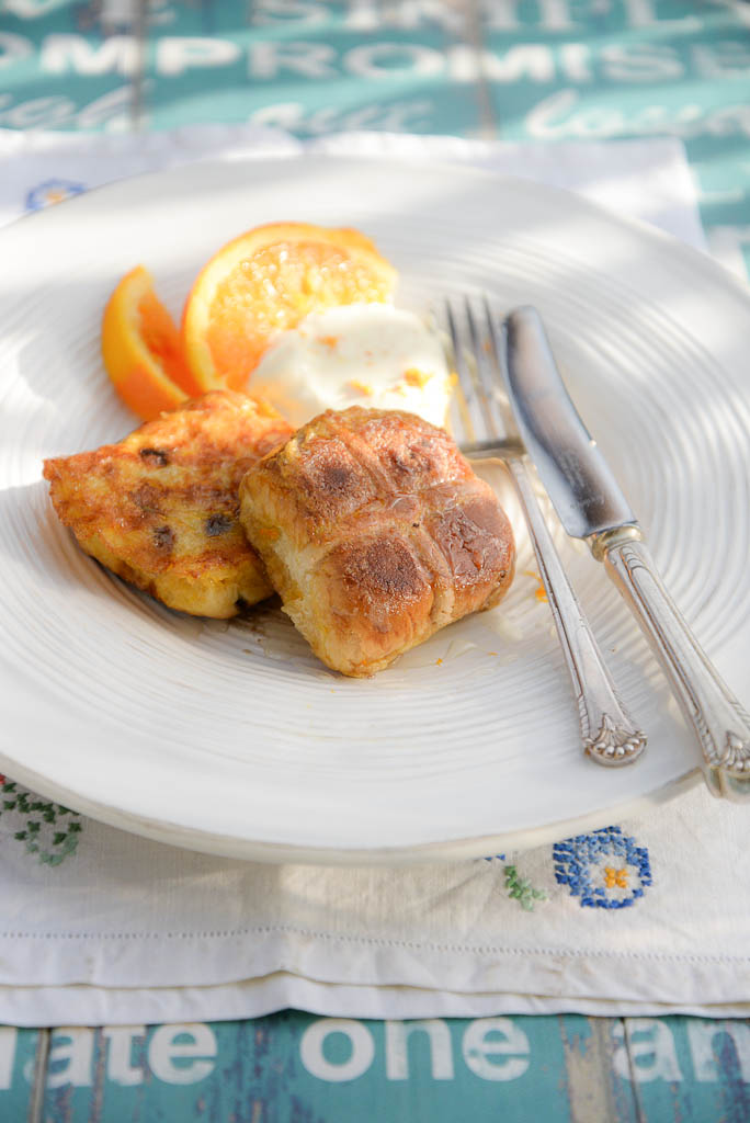 easter leftovers hot cross bun eggy bread
