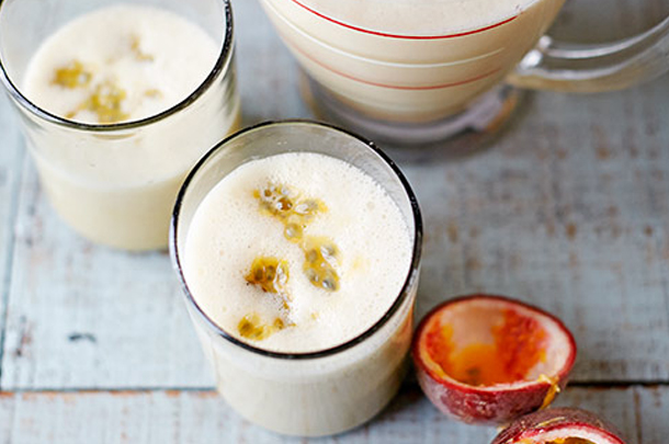 almond, banana & passionfruit fruit smoothie