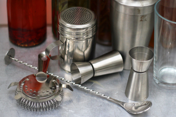 cocktail equipment on table
