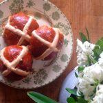 hot cross buns homemade on plate
