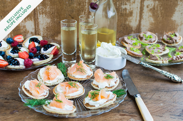 sweet and savoury blini party foods on trays