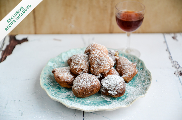 croatian fritule baked with icing sugar on top