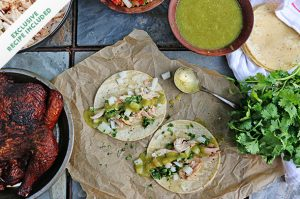 Smoked chicken tacos with salsa verde