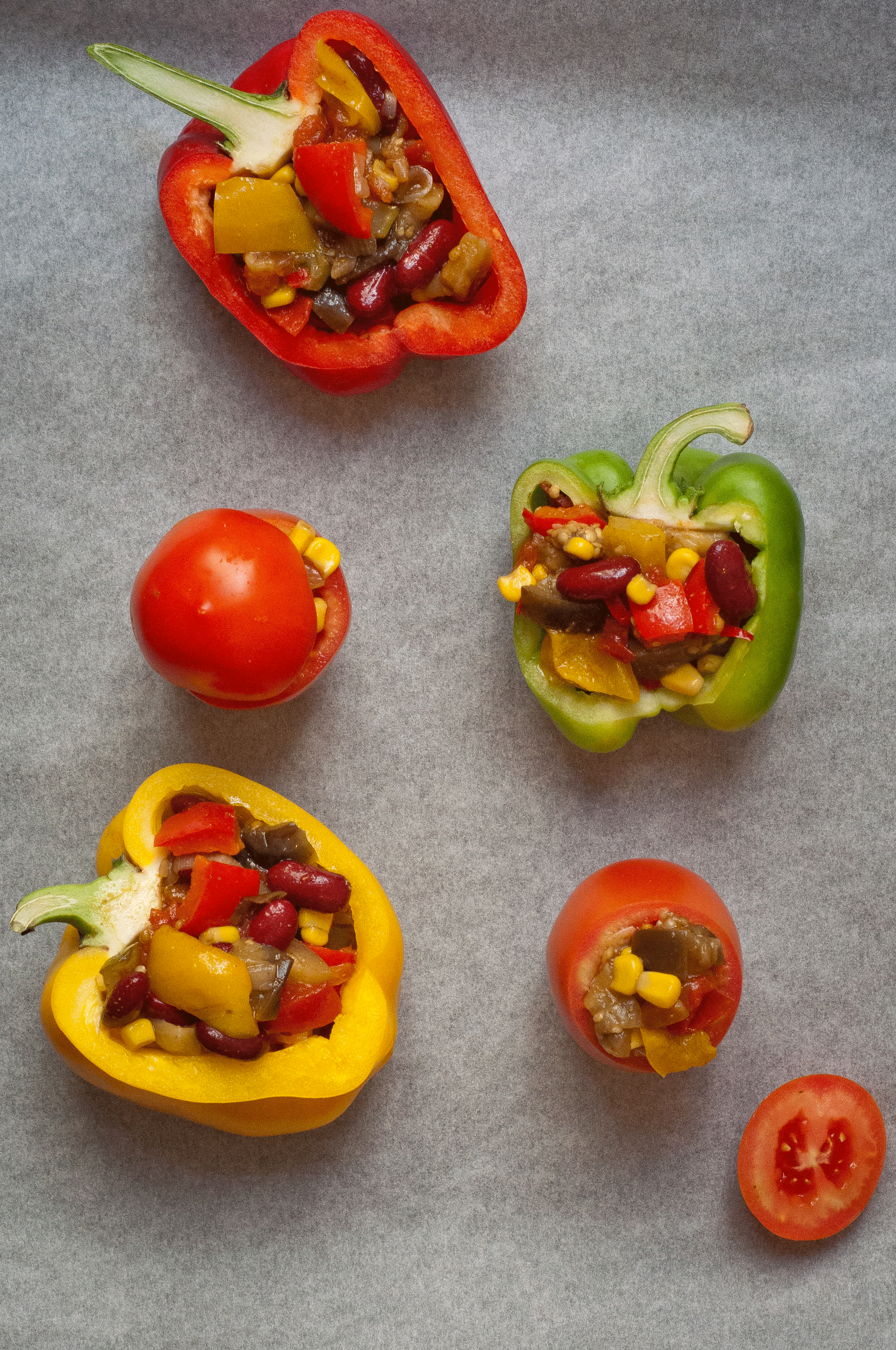 vegan chilli-stuffed peppers