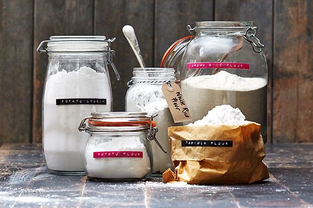 jars filled with gluten-free flour alternatives