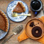 pumpkin desserts, pumpkin pie with coffee and pumpkin donut