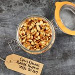 chilli and fennel roast pumpkin seeds in a mason jar with a label