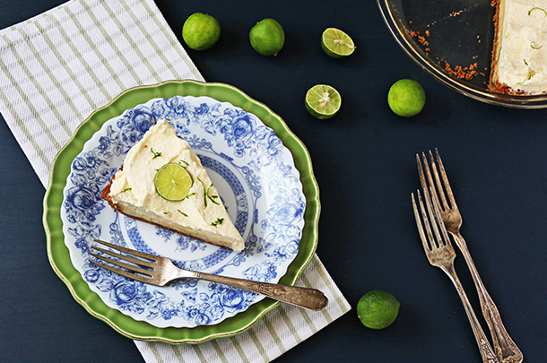 key lime pie with lime slice on top