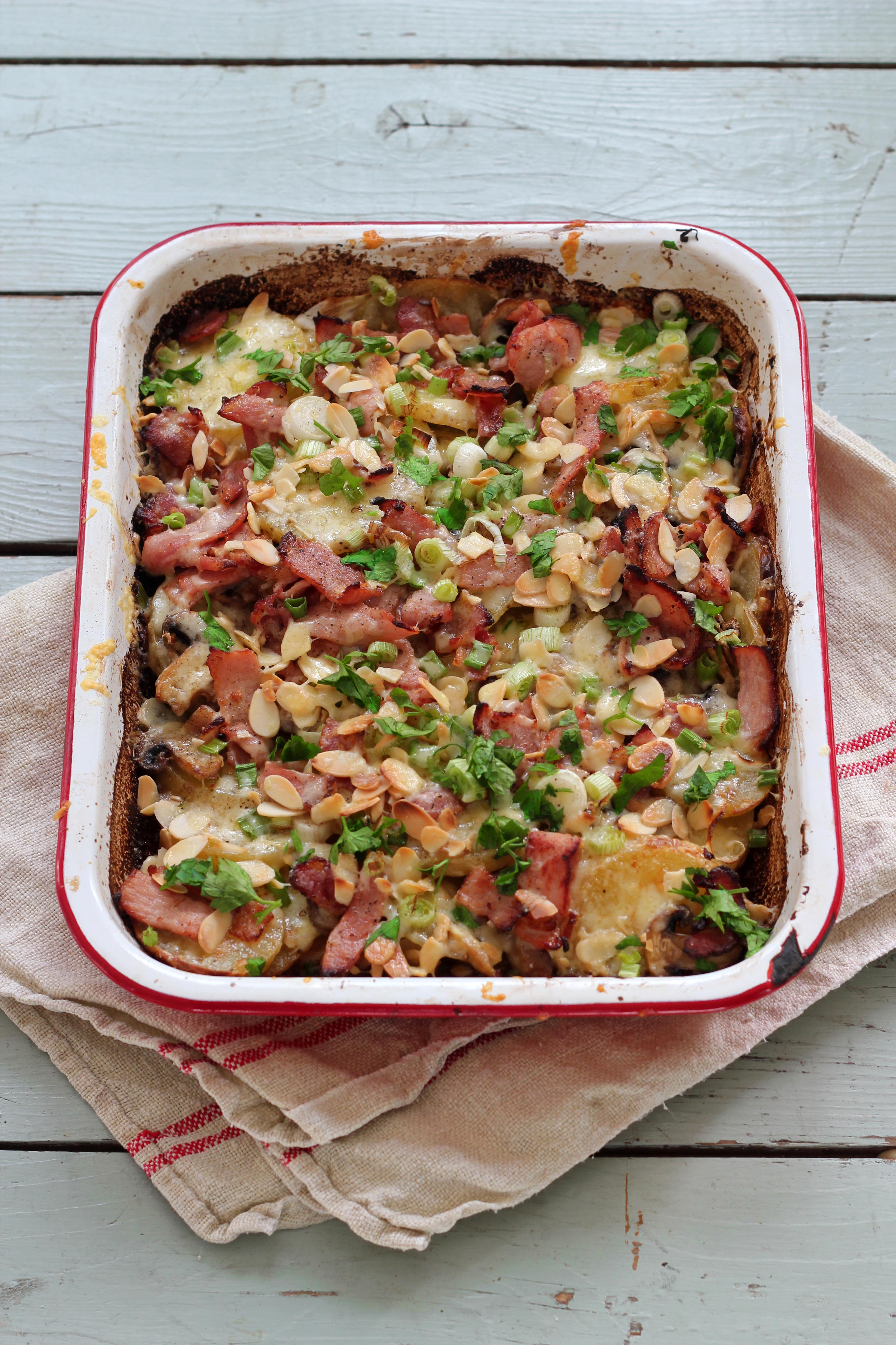 Easy potato gratin with cheese & bacon - Jamie Oliver | Features