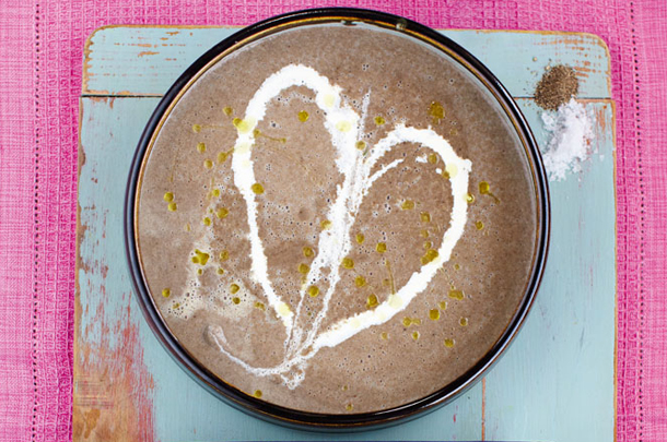 less meat - mushroom soup with creme heart