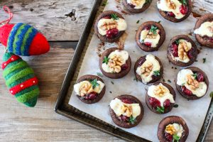 Festive Brie & cranberry stuffed mushrooms