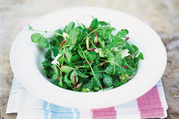 salad leaves with cheese and nuts