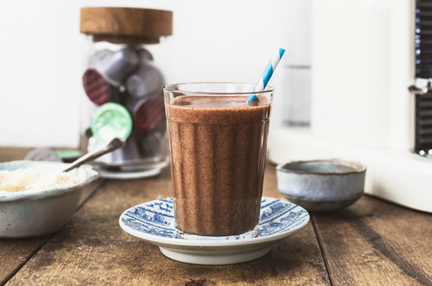 coffee smoothie drink with a straw in