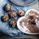 chocolate truffles with grated chocolate on top