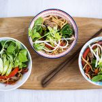one-bowl dishes - asian salads and noodles with chopsticks on the side
