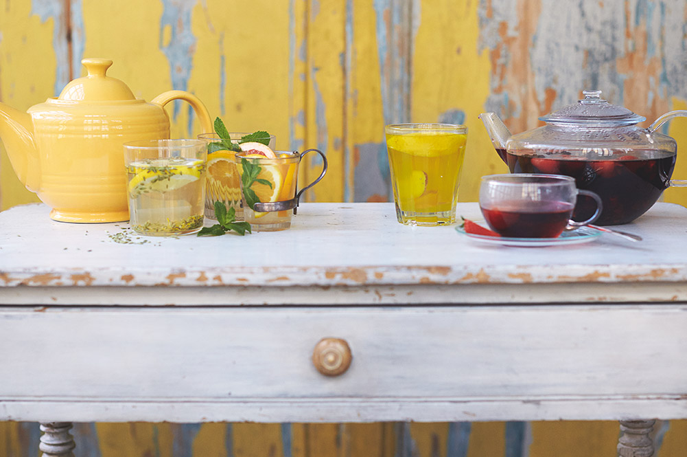 fruit infused tea with lemon and strawberry