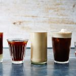 selection of iced coffees in different glasses brewed