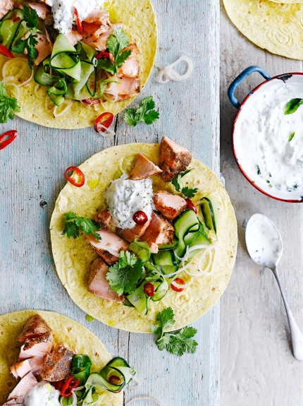 Five Spice Salmon Tacos Fish Recipes Jamie Oliver