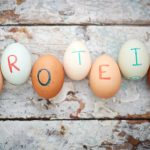 eggs with PROTEIN written on them