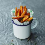 sweet potato fries in a cup