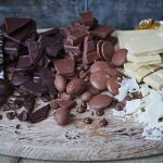 leftover chocolate cut up and grated in colour order