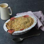 rhubarb crumble with custard on the side
