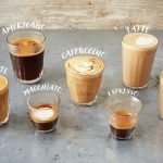 different types of Coffee lined up