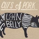a guide to pork cuts with sections of a pig drawing labelled