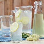 elderflower cordial in glasses with a slice of lemon