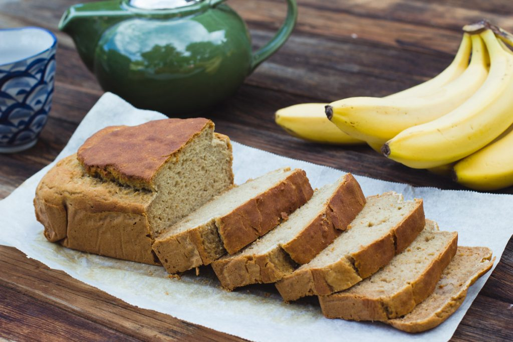 banana bread sliced on baking paper