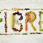 fibre feature image with all food containing fibre forming the word 'fibre'
