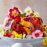 valentine's recipes - prosecco jelly with edible colourful flowers on top