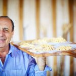 perfect pasta made for carbonara by Gennaro on a wooden board