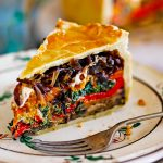 picnic pie with mixed roasted veg inside pastry