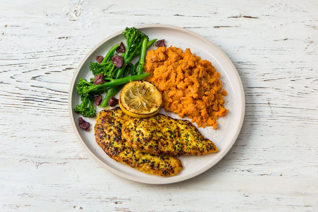 lemon and chicken fillets recipe with vegetables and carrot & swede mash
