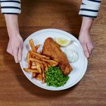 fish and cheaps with mushy peas and tartar sauce