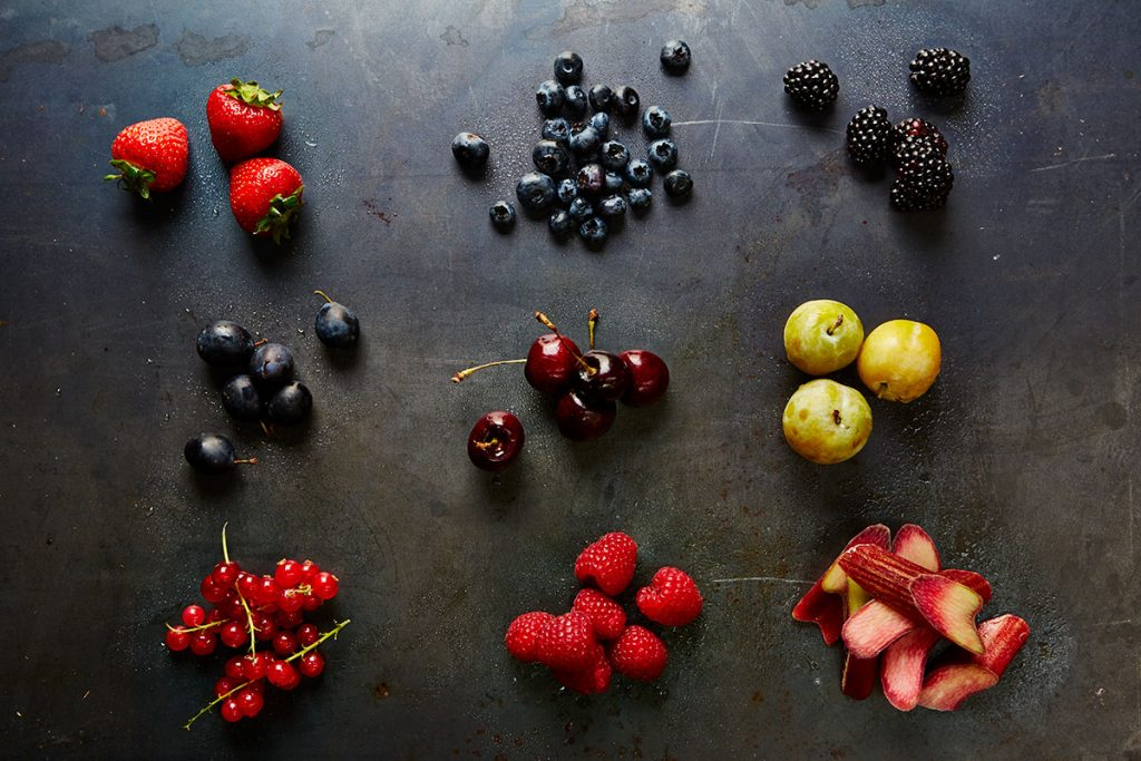 British fruit scattered around