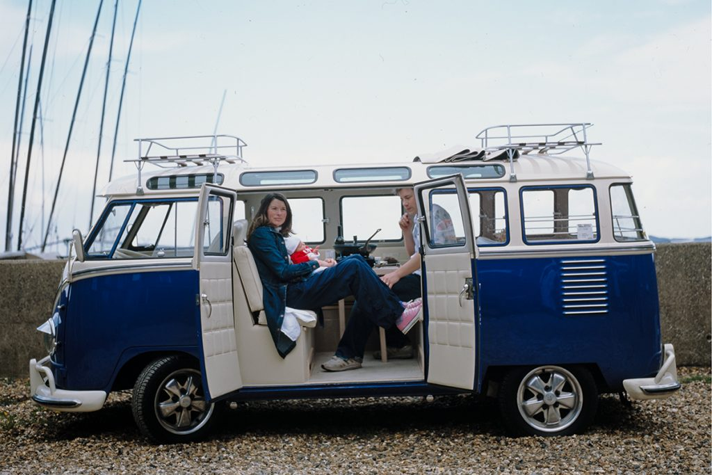 family days out. Jamie and Jools in a caravan