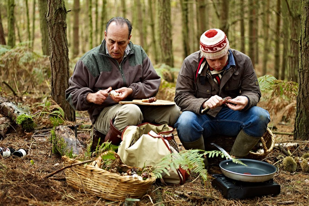 mushroom foraging with Gennaro and Jamie in the woods