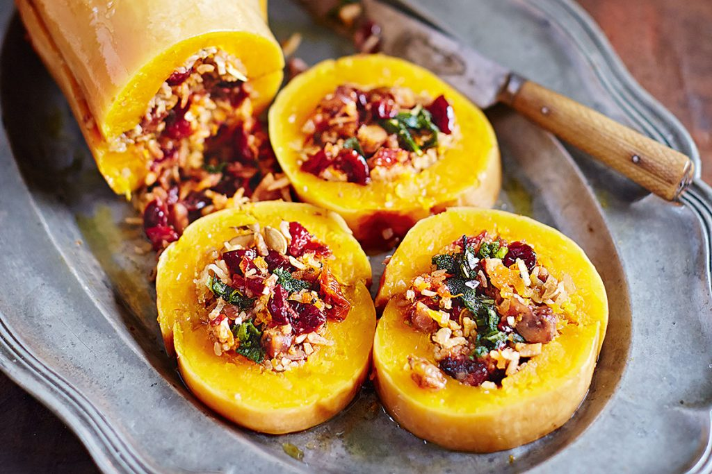 stuffed squash with rice and veg