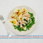 fish pie recipe with mash and peas on a plate