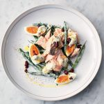 What to have for dinner - salmon nicoise with eggs and asparagus