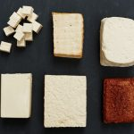 different types of tofu in a row